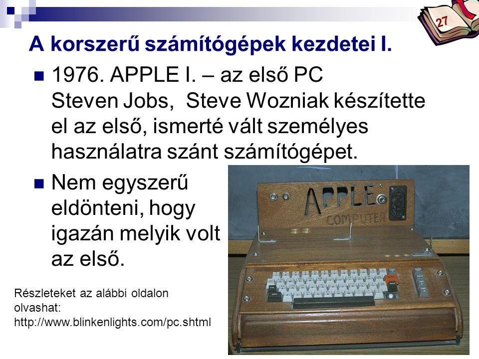 Bóta Laca A korszerű számítógépek kezdetei I. 1976.