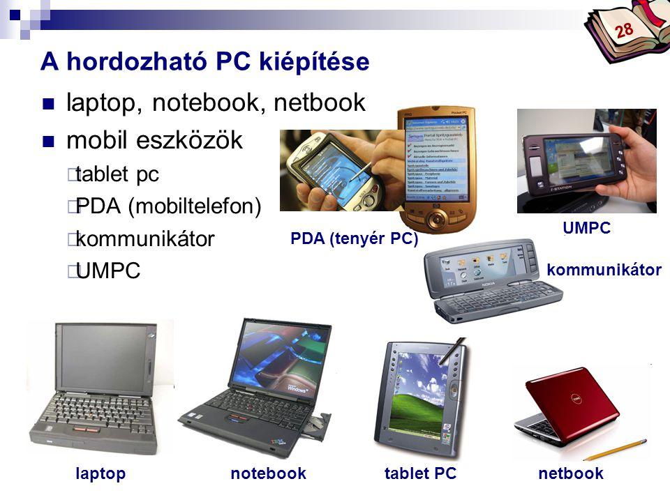 Bóta Laca  laptop, notebook, netbook  mobil eszközök  tablet pc  PDA (mobiltelefon)  kommunikátor  UMPC A hordozható PC kiépítése laptop PDA (tenyér PC) netbooknotebook UMPC tablet PC kommunikátor 28