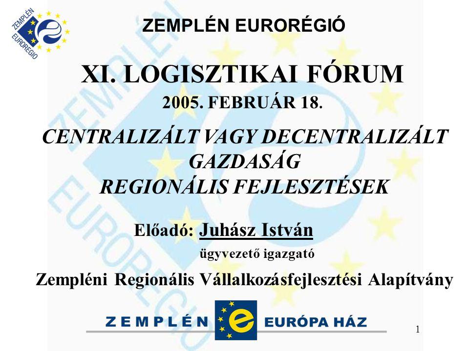 ZEMPLÉN EURORÉGIÓ 1 XI. LOGISZTIKAI FÓRUM 2005. FEBRUÁR 18.