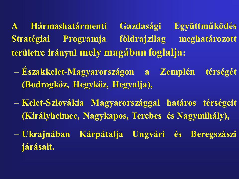 A Hármashatármenti Gazdasági Együttműködés Stratégiai Programja földrajzilag meghatározott területre irányul mely magában foglalja : –Északkelet-Magyarországon a Zemplén térségét (Bodrogköz, Hegyköz, Hegyalja), –Kelet-Szlovákia Magyarországgal határos térségeit (Királyhelmec, Nagykapos, Terebes és Nagymihály), –Ukrajnában Kárpátalja Ungvári és Beregszászi járásait.