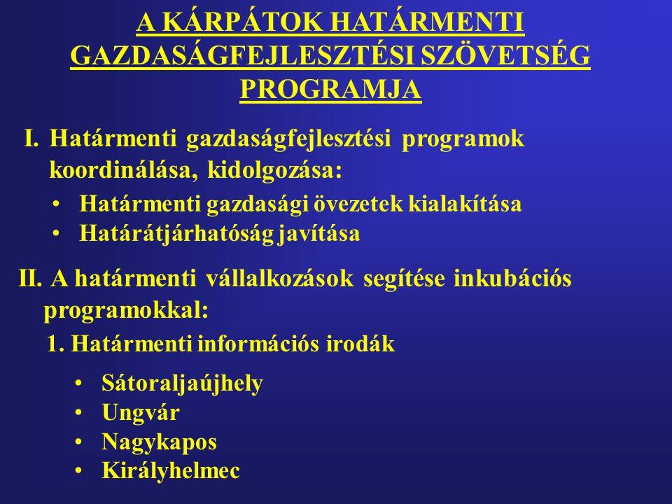 I.Határmenti gazdaságfejlesztési programok koordinálása, kidolgozása: II.