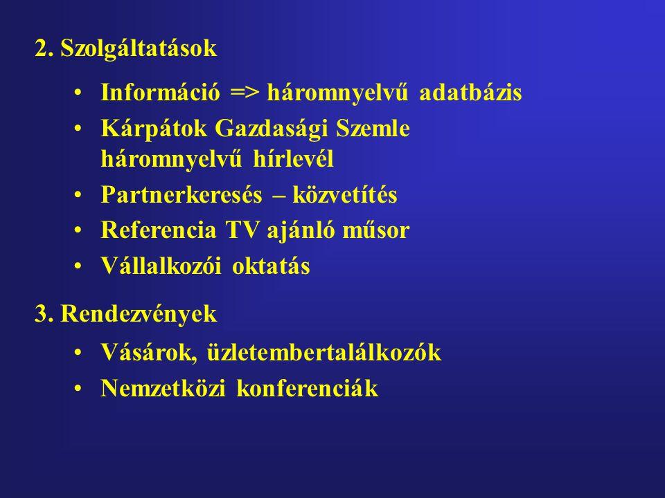 2. Szolgáltatások •Információ => háromnyelvű adatbázis •Kárpátok Gazdasági Szemle háromnyelvű hírlevél •Partnerkeresés – közvetítés •Referencia TV ajá
