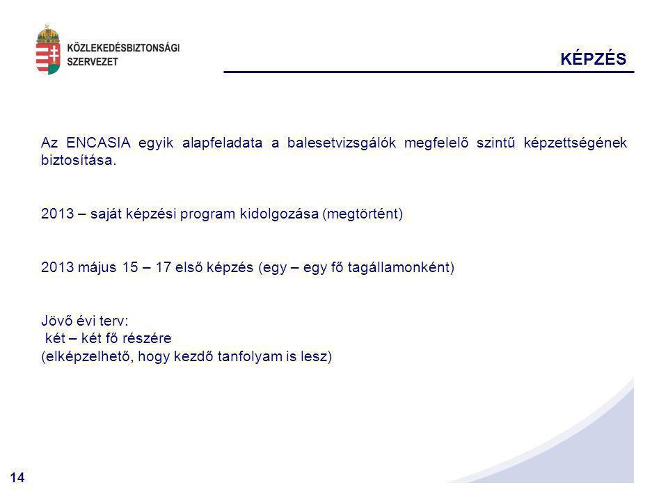 14 KÉPZÉS Az ENCASIA egyik alapfeladata a balesetvizsgálók megfelelő szintű képzettségének biztosítása. 2013 – saját képzési program kidolgozása (megt