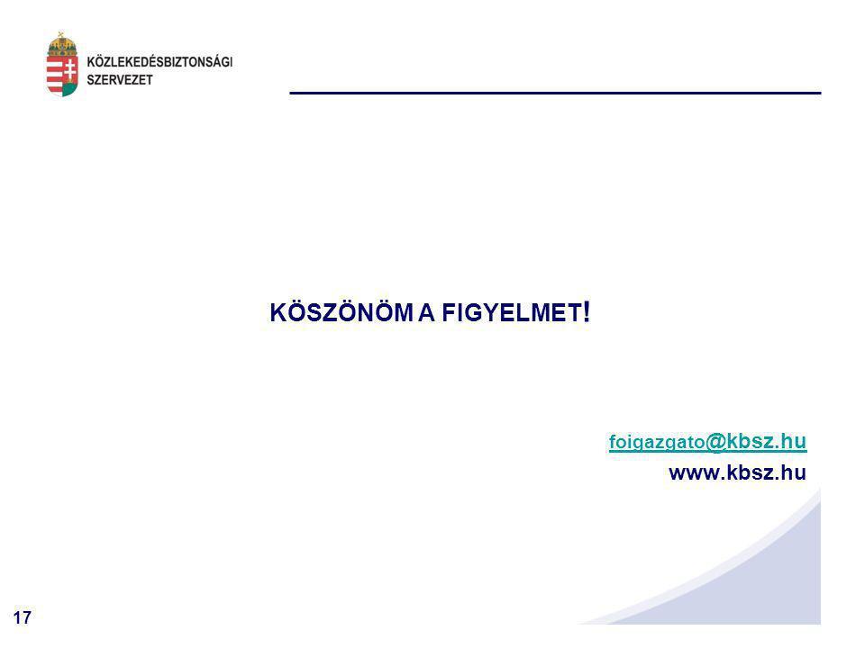 17 KÖSZÖNÖM A FIGYELMET ! foigazgato @kbsz.hufoigazgato @kbsz.hu www.kbsz.hu