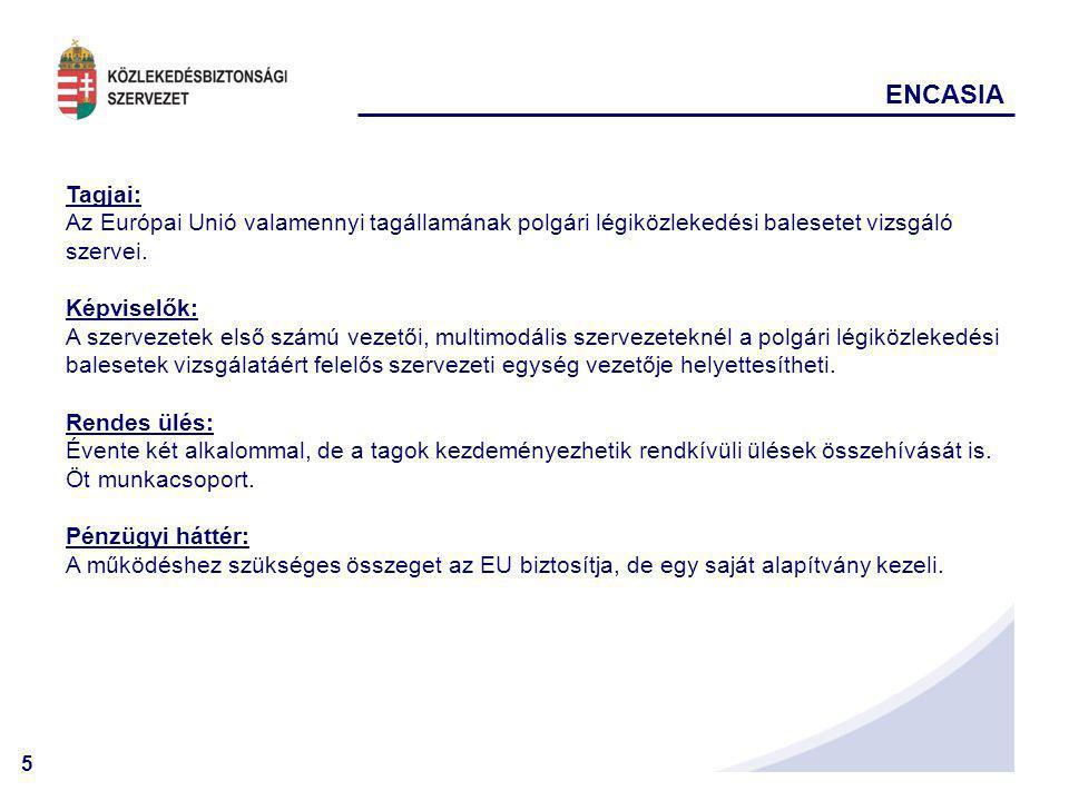 5 ENCASIA Tagjai: Az Európai Unió valamennyi tagállamának polgári légiközlekedési balesetet vizsgáló szervei. Képviselők: A szervezetek első számú vez