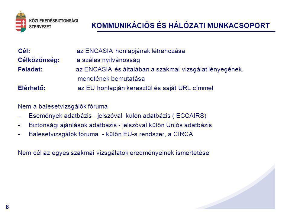 8 Cél: az ENCASIA honlapjának létrehozása Célközönség: a széles nyilvánosság Feladat: az ENCASIA és általában a szakmai vizsgálat lényegének, meneténe