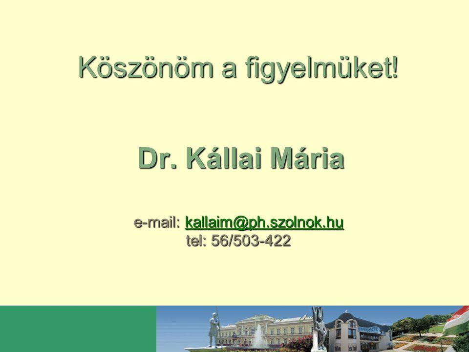 Köszönöm a figyelmüket! Dr. Kállai Mária e-mail: kallaim@ph.szolnok.hu tel: 56/503-422 kallaim@ph.szolnok.hu