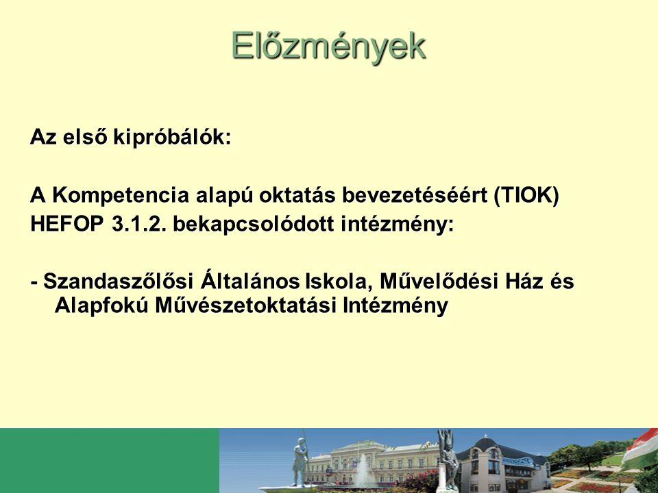 Előzmények Az első kipróbálók: A Kompetencia alapú oktatás bevezetéséért (TIOK) HEFOP 3.1.2. bekapcsolódott intézmény: - Szandaszőlősi Általános Iskol