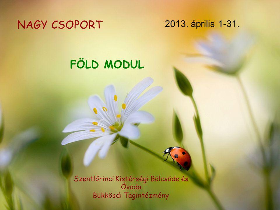 NAGY CSOPORT 2013. április 1-31. Szentlőrinci Kistérségi Bölcsöde és Óvoda Bükkösdi Tagintézmény FÖLD MODUL