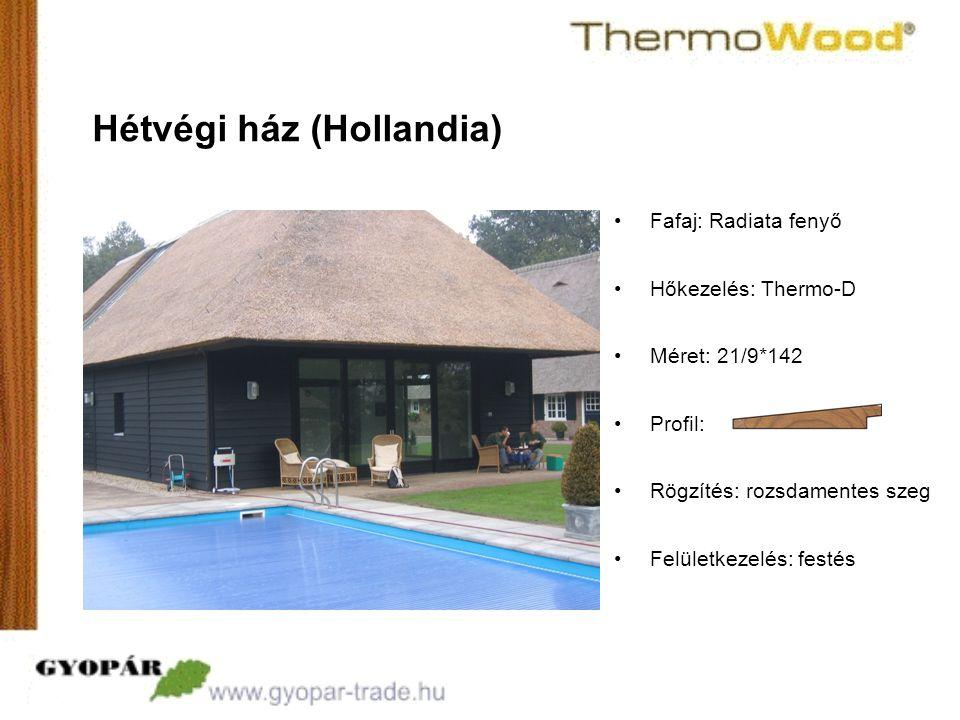 •Profil: Hétvégi ház (Hollandia) •Fafaj: Radiata fenyő •Hőkezelés: Thermo-D •Méret: 21/9*142 •Rögzítés: rozsdamentes szeg •Felületkezelés: festés