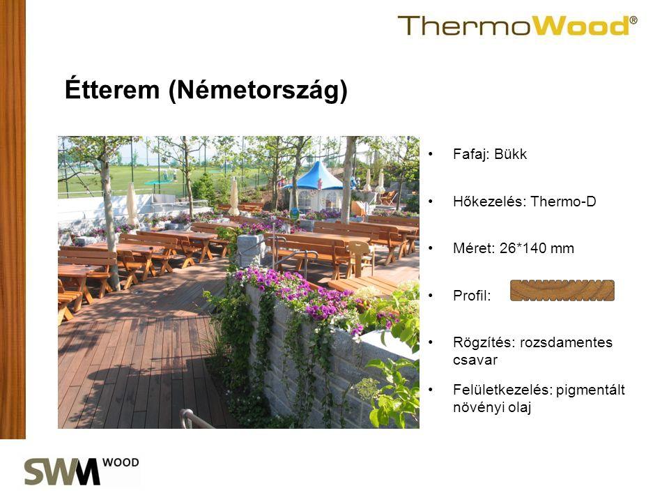 •Profil: Étterem (Németország) •Fafaj: Bükk •Hőkezelés: Thermo-D •Méret: 26*140 mm •Rögzítés: rozsdamentes csavar •Felületkezelés: pigmentált növényi