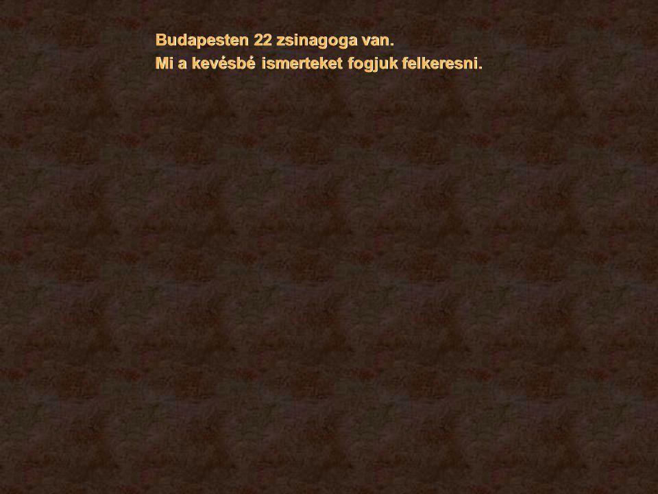 Budapesten 22 zsinagoga van. Mi a kevésbé ismerteket fogjuk felkeresni.