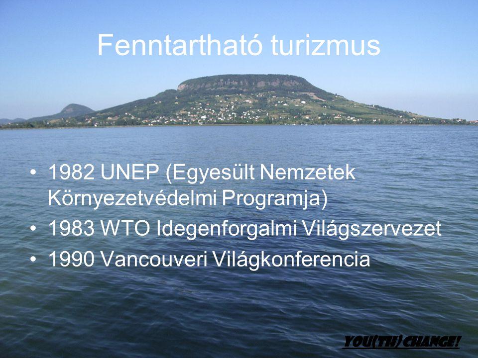 Fenntartható turizmus •1982 UNEP (Egyesült Nemzetek Környezetvédelmi Programja) •1983 WTO Idegenforgalmi Világszervezet •1990 Vancouveri Világkonferen