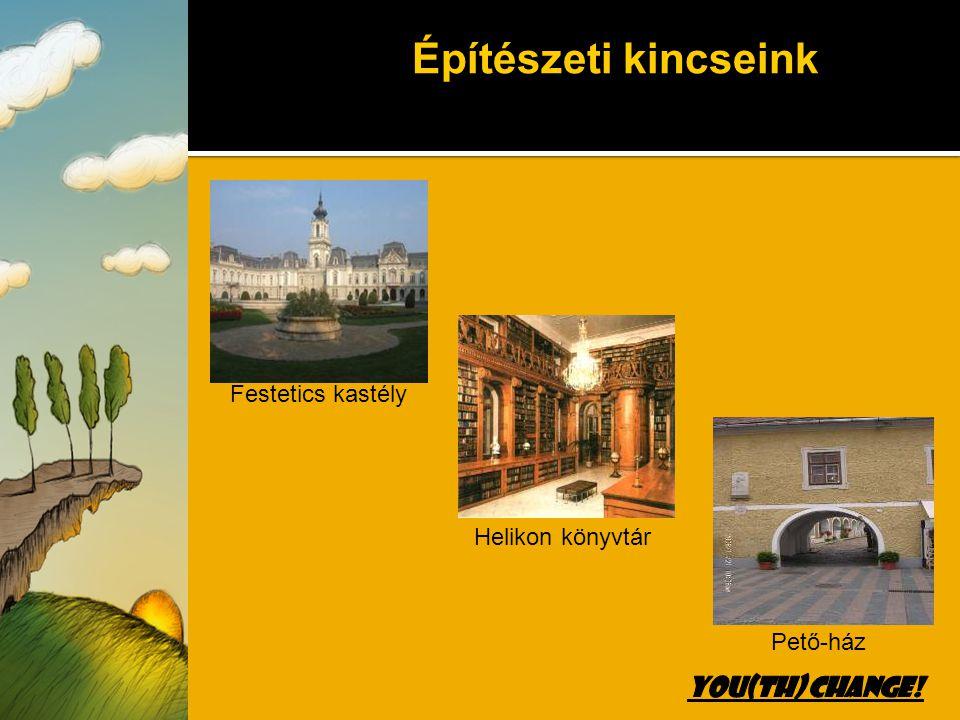Iskolánk Fő tér a Szentháromság szoborral és a modern színház épületével Festetics György bronz szobra Turisztikai látványosságok