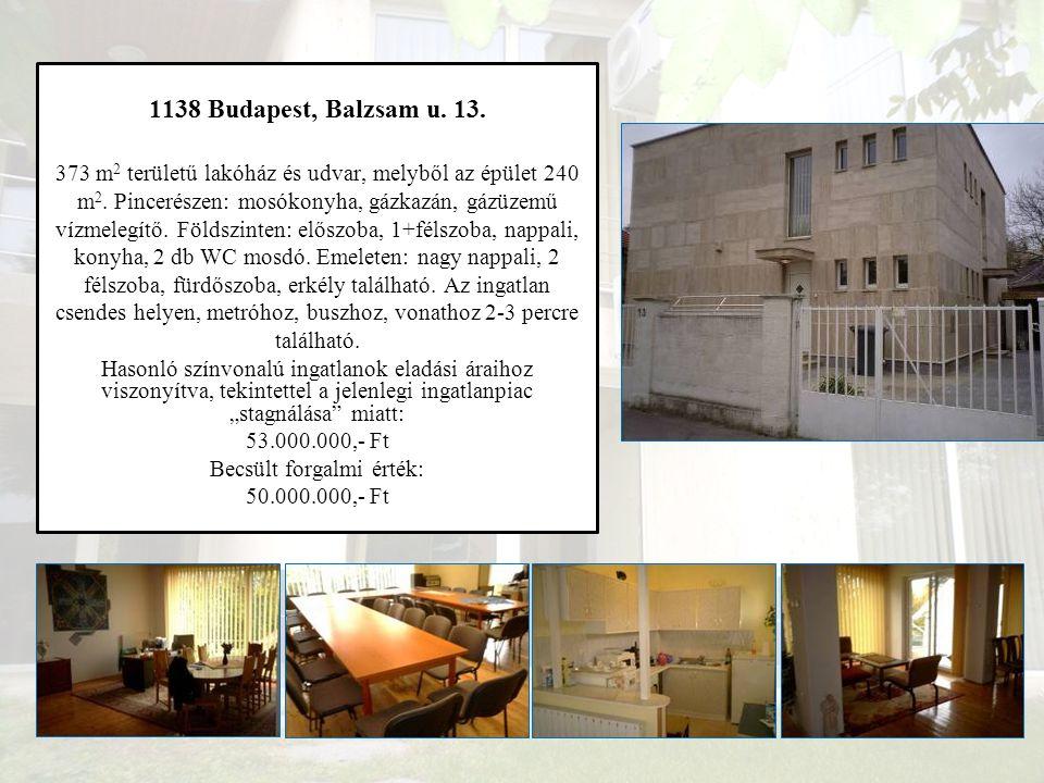 XIX. Budapest, Nagysándor József u. 120. Becsült forgalmi érték: 50.000.000,- Ft