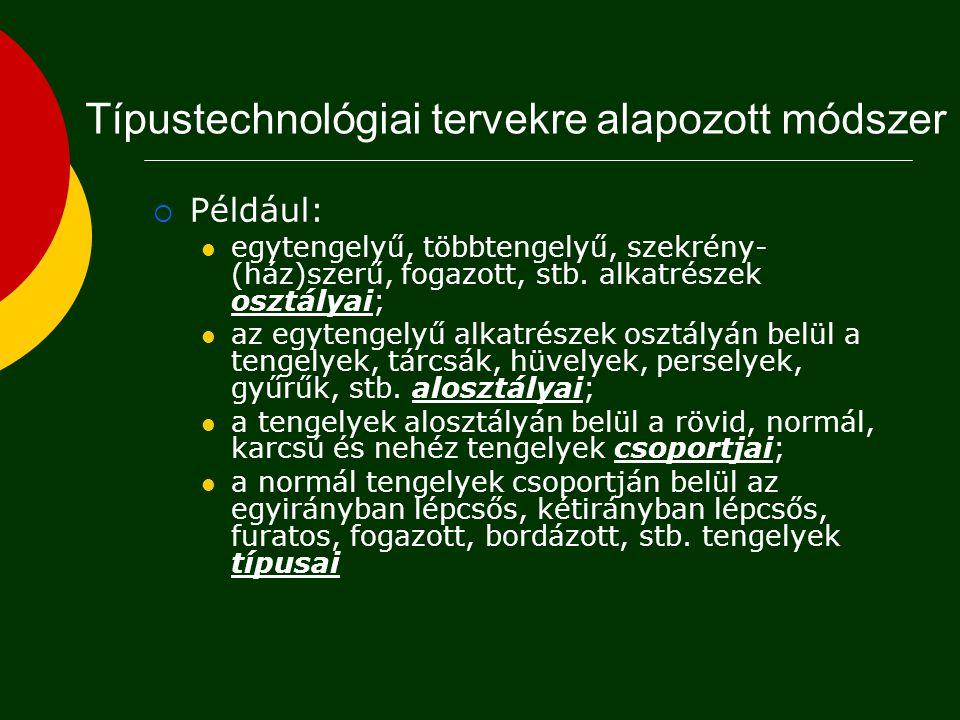  Koncepcionális (általános) tervezés  Technológia választás  Koncepcionális terv (gyártástechnológiai eljárások, folyamatok)  Makro-tervezés  Több tartomány (pl: forgácsolás és szerelés)  Technológiai útvonalak tervei, erőforrások  Részletes tervezés  Egyetlen tartomány (egyetlen folyamat)  Folyamatterv (sorrend, berendezés, készükék, szerszám)  Mikro-tervezés  Optimális feltételek, gépi utasítások  Folyamat/művelet paraméterek (idő, költség, CNC program) A technológiai tervezés szintjei