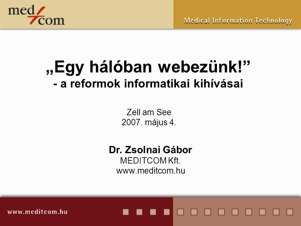 """""""Egy hálóban webezünk!"""" - a reformok informatikai kihívásai Dr. Zsolnai Gábor MEDITCOM Kft. www.meditcom.hu Zell am See 2007. május 4."""