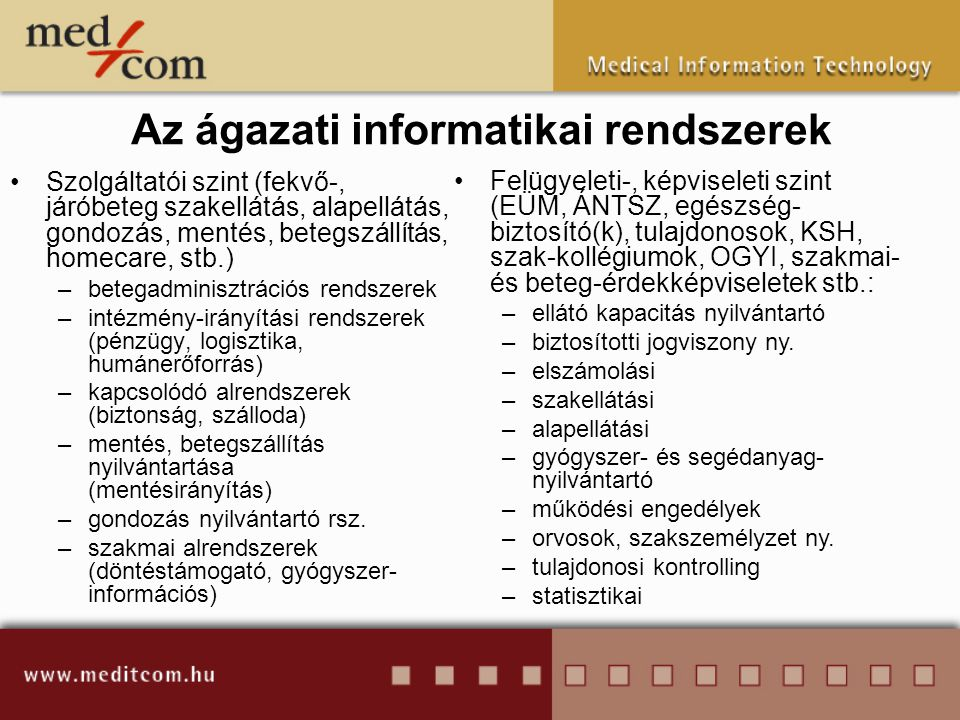 Az ágazati informatikai rendszerek •Szolgáltatói szint (fekvő-, járóbeteg szakellátás, alapellátás, gondozás, mentés, betegszállítás, homecare, stb.)