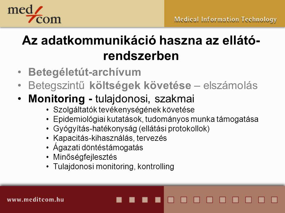 •Betegéletút-archívum •Betegszintű költségek követése – elszámolás •Monitoring - tulajdonosi, szakmai •Szolgáltatók tevékenységének követése •Epidemio