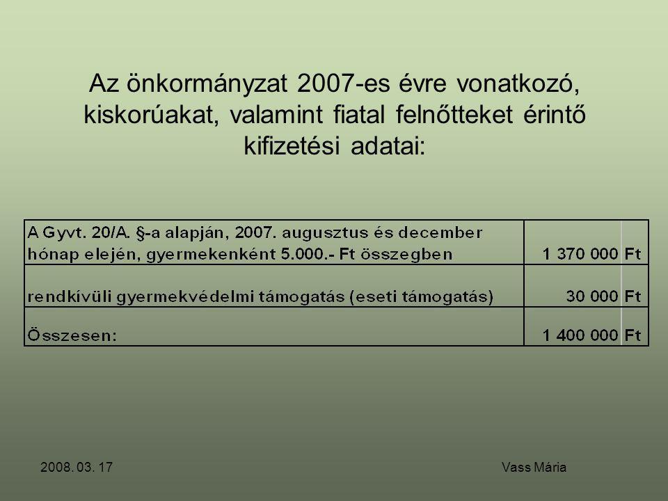 2008. 03. 17 Vass Mária Az önkormányzat 2007-es évre vonatkozó, kiskorúakat, valamint fiatal felnőtteket érintő kifizetési adatai: