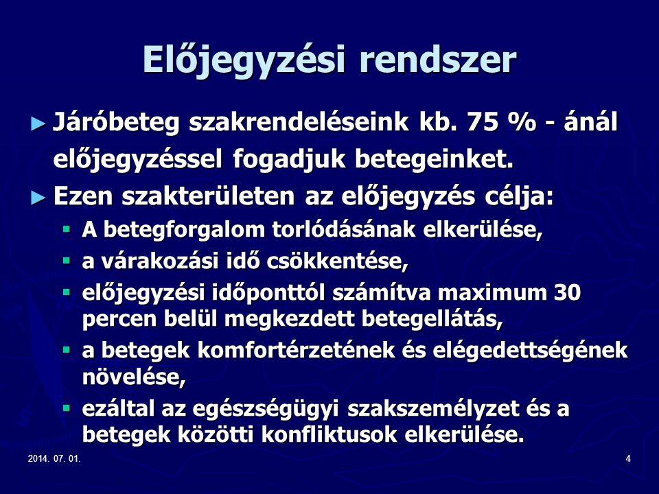 2014. 07. 01.4 Előjegyzési rendszer ► Járóbeteg szakrendeléseink kb.