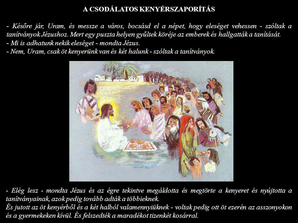 A CSODÁLATOS KENYÉRSZAPORÍTÁS - Későre jár, Uram, és messze a város, bocsásd el a népet, hogy eleséget vehessen - szóltak a tanítványok Jézushoz. Mert