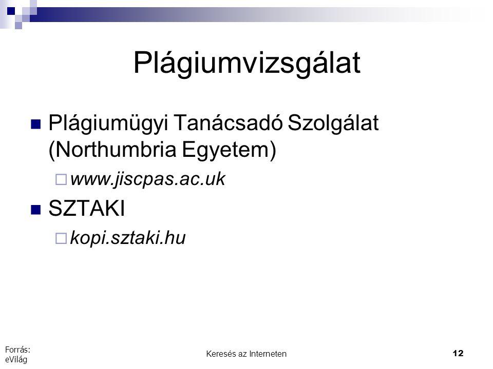 Keresés az Interneten12 Plágiumvizsgálat  Plágiumügyi Tanácsadó Szolgálat (Northumbria Egyetem)  www.jiscpas.ac.uk  SZTAKI  kopi.sztaki.hu Forrás: eVilág