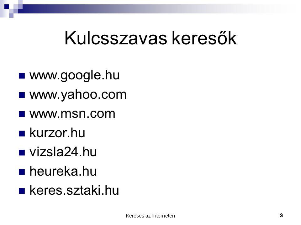 Keresés az Interneten3 Kulcsszavas keresők  www.google.hu  www.yahoo.com  www.msn.com  kurzor.hu  vizsla24.hu  heureka.hu  keres.sztaki.hu