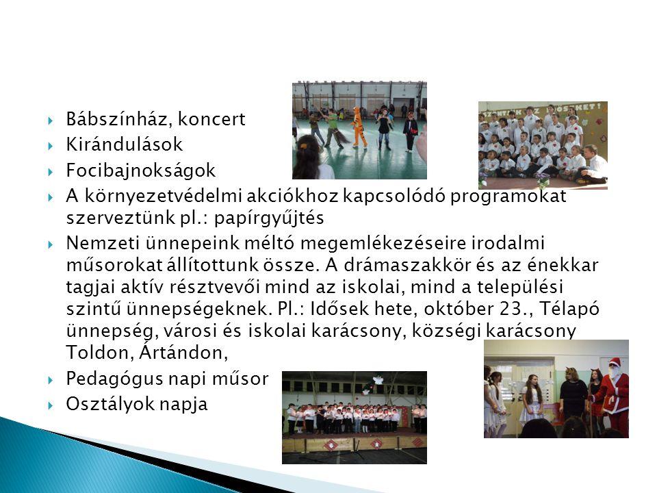 Bábszínház, koncert  Kirándulások  Focibajnokságok  A környezetvédelmi akciókhoz kapcsolódó programokat szerveztünk pl.: papírgyűjtés  Nemzeti ünnepeink méltó megemlékezéseire irodalmi műsorokat állítottunk össze.