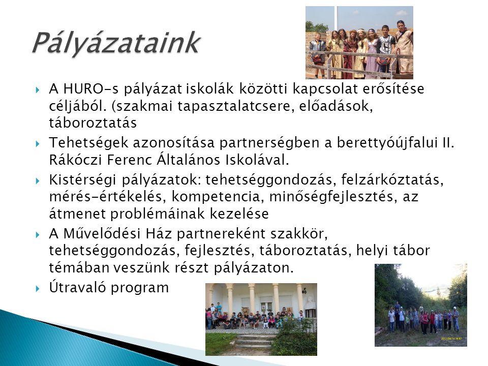  A HURO-s pályázat iskolák közötti kapcsolat erősítése céljából. (szakmai tapasztalatcsere, előadások, táboroztatás  Tehetségek azonosítása partners