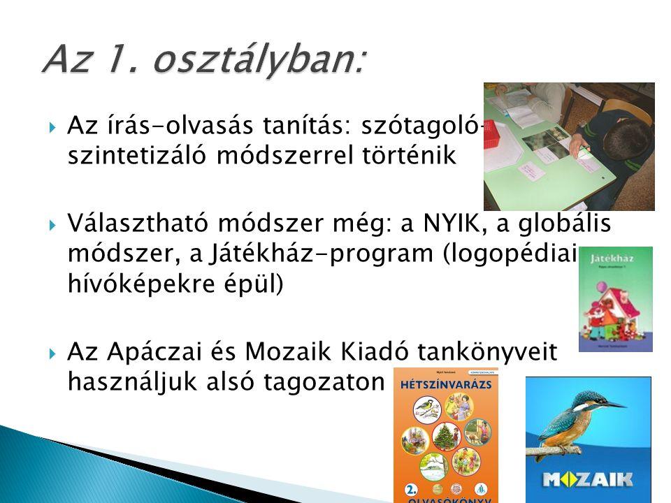  Az írás-olvasás tanítás: szótagoló- szintetizáló módszerrel történik  Választható módszer még: a NYIK, a globális módszer, a Játékház-program (logopédiai hívóképekre épül)  Az Apáczai és Mozaik Kiadó tankönyveit használjuk alsó tagozaton