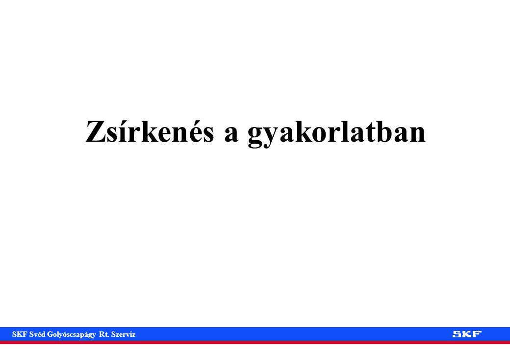 SKF Svéd Golyóscsapágy Rt. Szerviz Zsírkenés a gyakorlatban