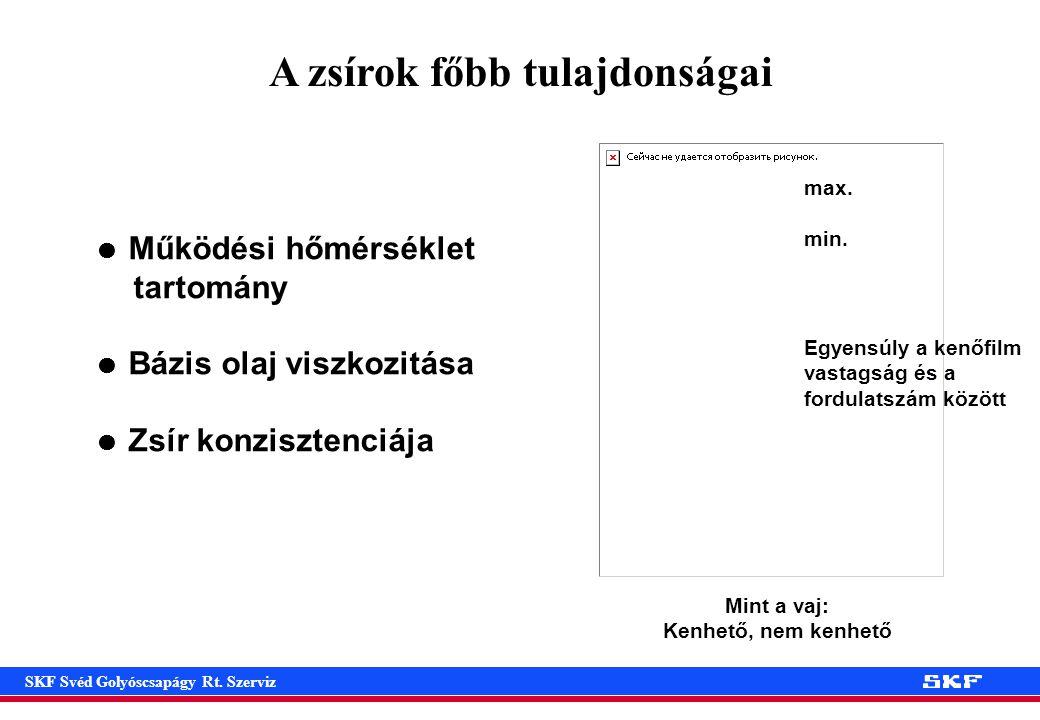 SKF Svéd Golyóscsapágy Rt.Szerviz A zsírok főbb tulajdonságai max.