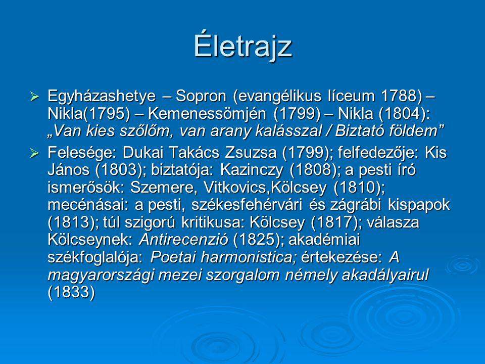"""Életrajz  Egyházashetye – Sopron (evangélikus líceum 1788) – Nikla(1795) – Kemenessömjén (1799) – Nikla (1804): """"Van kies szőlőm, van arany kalásszal"""