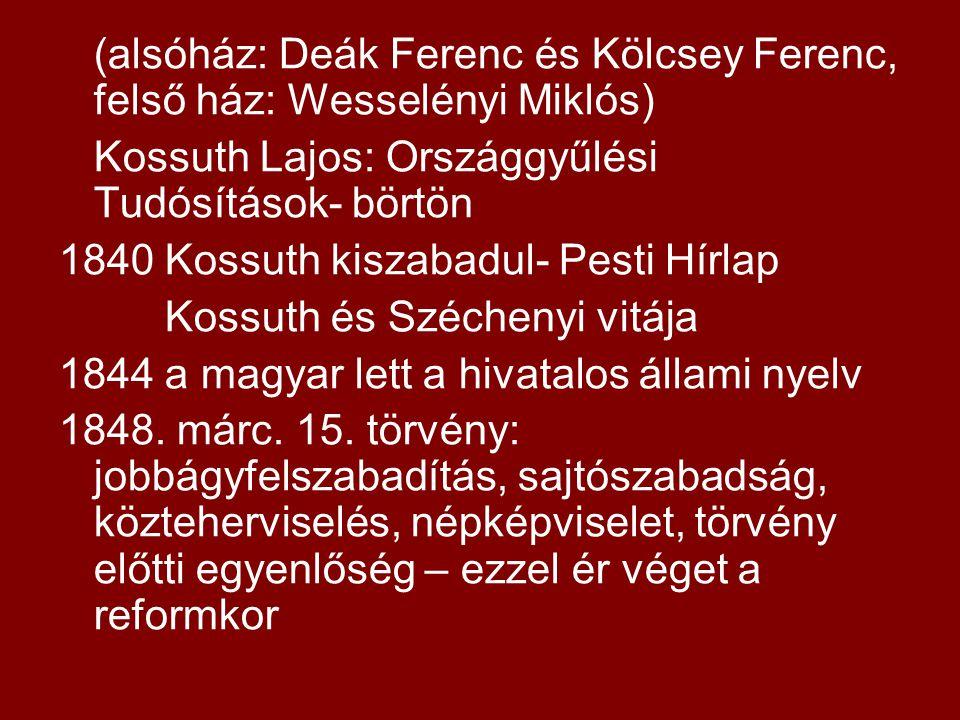 (alsóház: Deák Ferenc és Kölcsey Ferenc, felső ház: Wesselényi Miklós) Kossuth Lajos: Országgyűlési Tudósítások- börtön 1840 Kossuth kiszabadul- Pesti Hírlap Kossuth és Széchenyi vitája 1844 a magyar lett a hivatalos állami nyelv 1848.