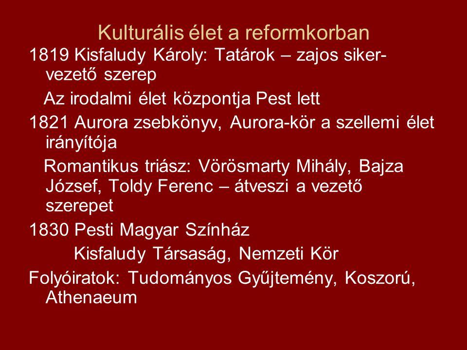 Kulturális élet a reformkorban 1819 Kisfaludy Károly: Tatárok – zajos siker- vezető szerep Az irodalmi élet központja Pest lett 1821 Aurora zsebkönyv,
