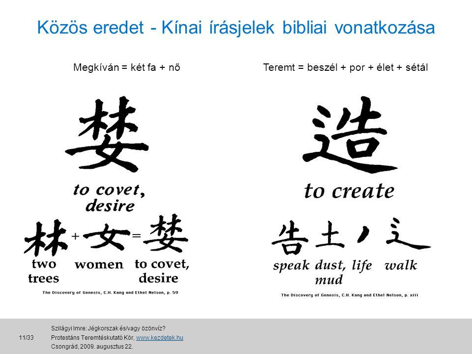 Közös eredet - Kínai írásjelek bibliai vonatkozása Megkíván = két fa + nőTeremt = beszél + por + élet + sétál 11/33 Szilágyi Imre: Jégkorszak és/vagy özönvíz.
