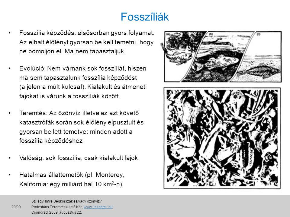 Fosszíliák •Fosszília képződés: elsősorban gyors folyamat.