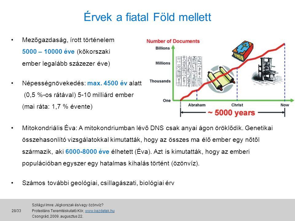 Érvek a fiatal Föld mellett •Mezőgazdaság, írott történelem 5000 – 10000 éve (kőkorszaki ember legalább százezer éve) •Népességnövekedés: max.