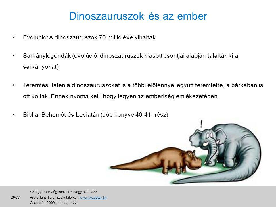Dinoszauruszok és az ember •Evolúció: A dinoszauruszok 70 millió éve kihaltak •Sárkánylegendák (evolúció: dinoszauruszok kiásott csontjai alapján találták ki a sárkányokat) •Teremtés: Isten a dinoszauruszokat is a többi élőlénnyel együtt teremtette, a bárkában is ott voltak.