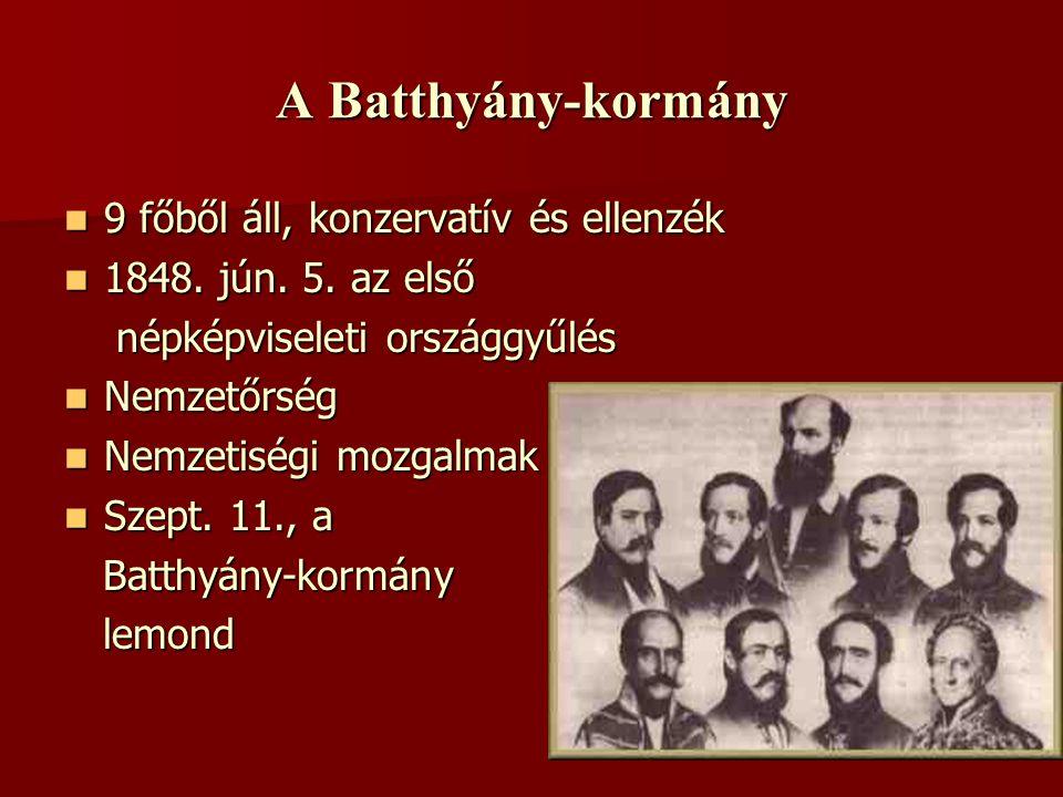 A Batthyány-kormány  9 főből áll, konzervatív és ellenzék  1848. jún. 5. az első népképviseleti országgyűlés népképviseleti országgyűlés  Nemzetőrs