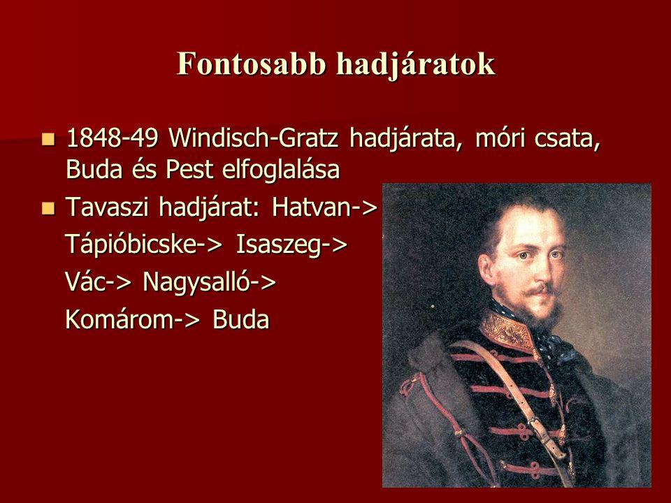 Fontosabb hadjáratok 1111848-49 Windisch-Gratz hadjárata, móri csata, Buda és Pest elfoglalása TTTTavaszi hadjárat: Hatvan-> Tápióbicske-> Isa