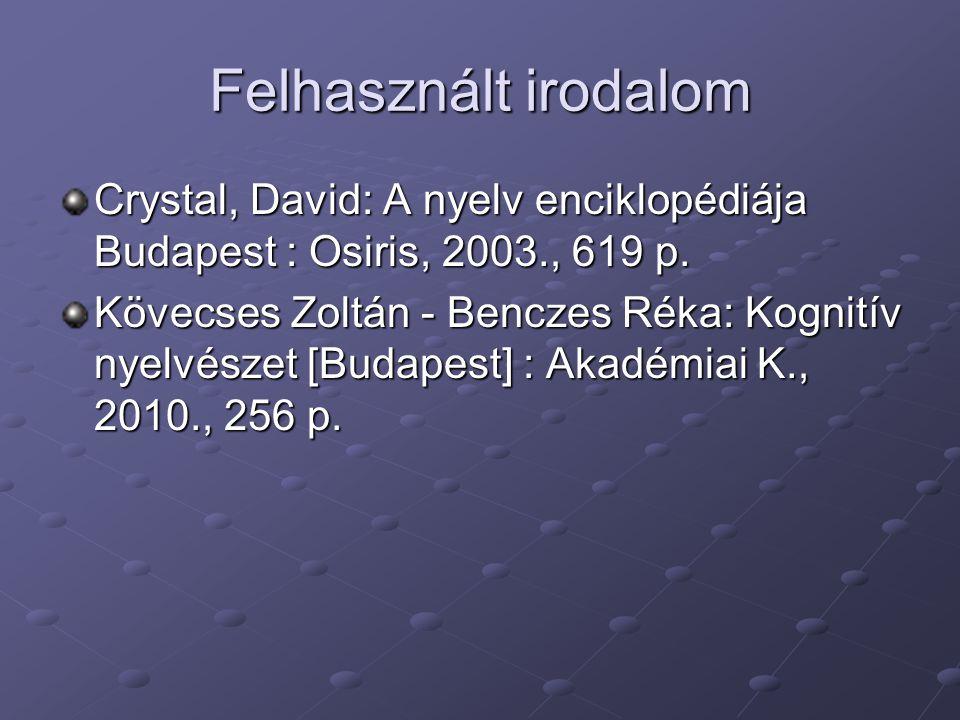 Felhasznált irodalom Crystal, David: A nyelv enciklopédiája Budapest : Osiris, 2003., 619 p. Kövecses Zoltán - Benczes Réka: Kognitív nyelvészet [Buda
