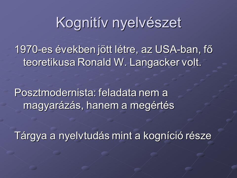 Kognitív nyelvészet 1970-es években jött létre, az USA-ban, fő teoretikusa Ronald W.
