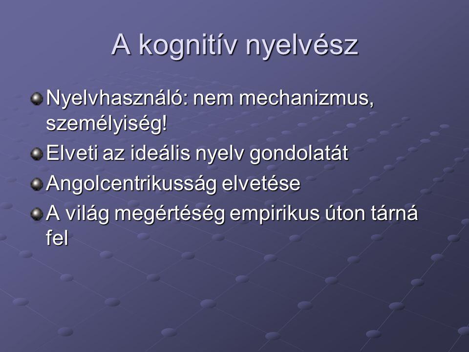 A kognitív nyelvész Nyelvhasználó: nem mechanizmus, személyiség.
