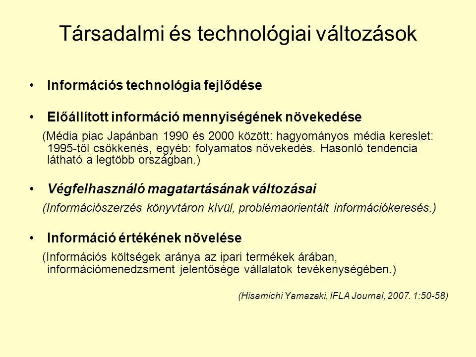 Társadalmi és technológiai változások •Információs technológia fejlődése •Előállított információ mennyiségének növekedése (Média piac Japánban 1990 és