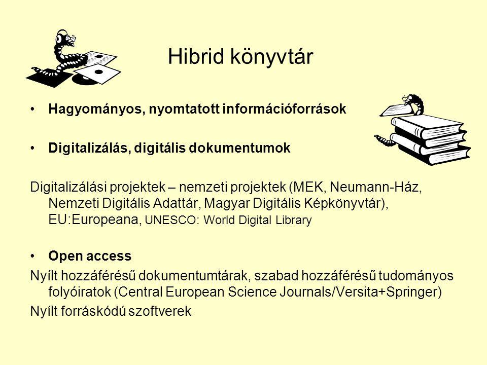 Hibrid könyvtár •Hagyományos, nyomtatott információforrások •Digitalizálás, digitális dokumentumok Digitalizálási projektek – nemzeti projektek (MEK,