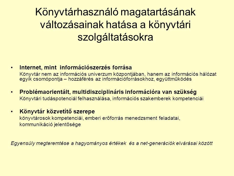 Könyvtárhasználó magatartásának változásainak hatása a könyvtári szolgáltatásokra •Internet, mint információszerzés forrása Könyvtár nem az információ