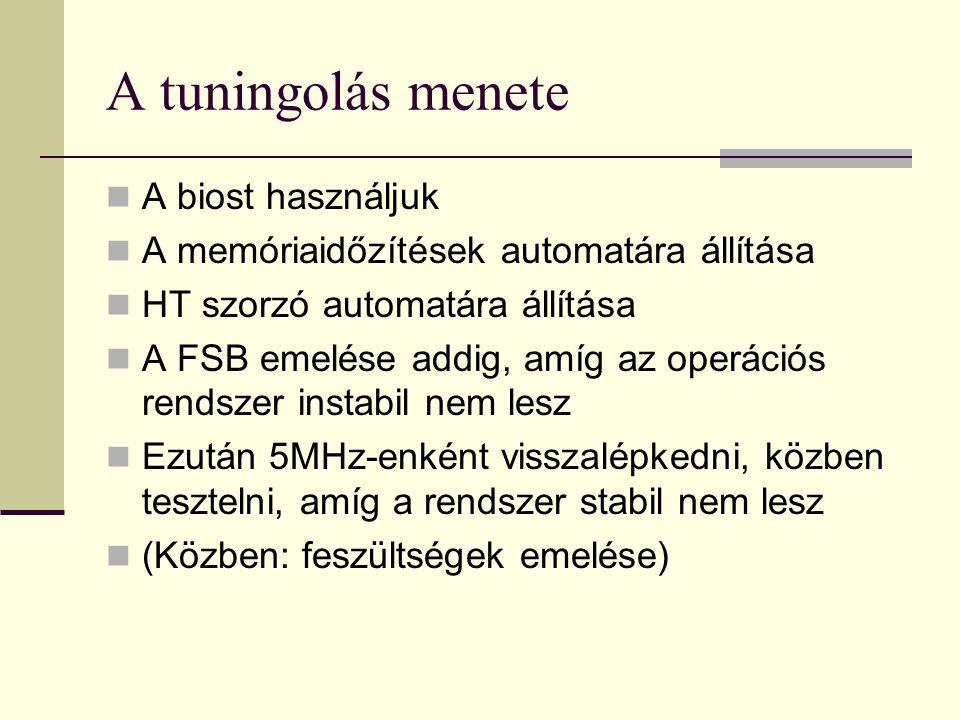 A tuningolás menete  A biost használjuk  A memóriaidőzítések automatára állítása  HT szorzó automatára állítása  A FSB emelése addig, amíg az oper