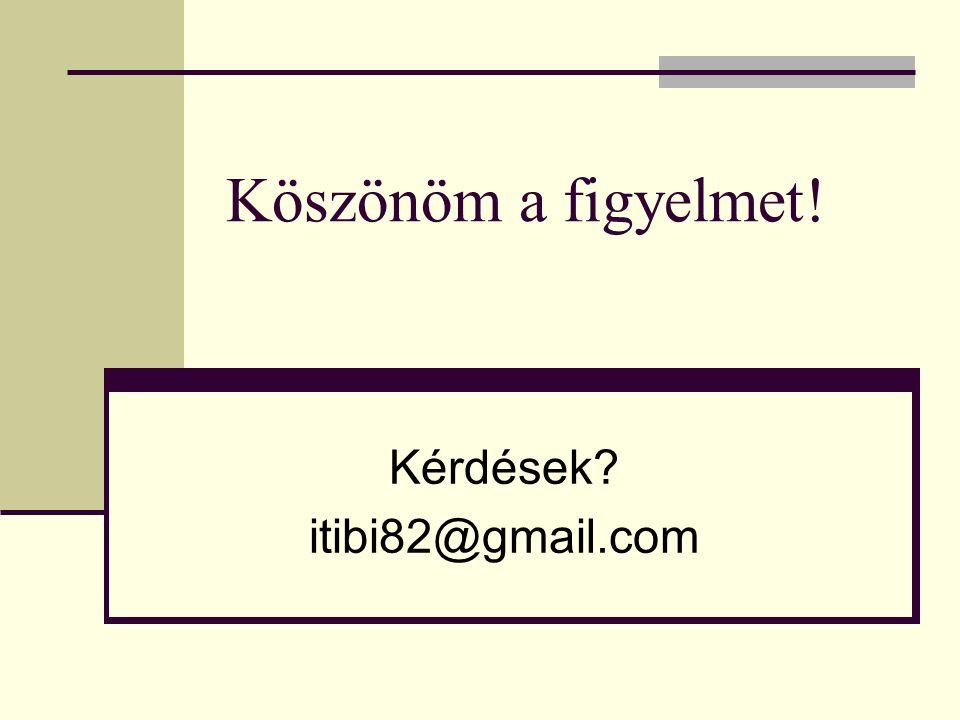 Köszönöm a figyelmet! Kérdések? itibi82@gmail.com